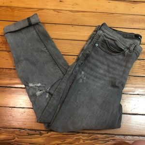 Express Distressed Girlfriend High Rise Jeans